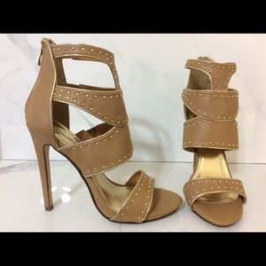 "Paprika Shoes - New Women's Tan Bling Shoes Sexy 5"" Heels Size 8.5"